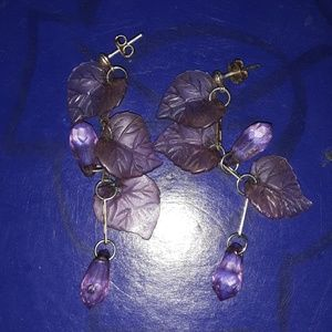 Pretty purple leaf earrings